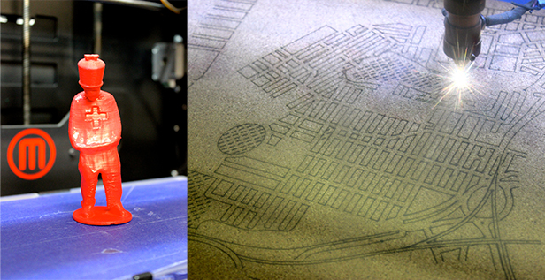 Work from other AMT members, on the 3D printer (left) and the laser cutter.