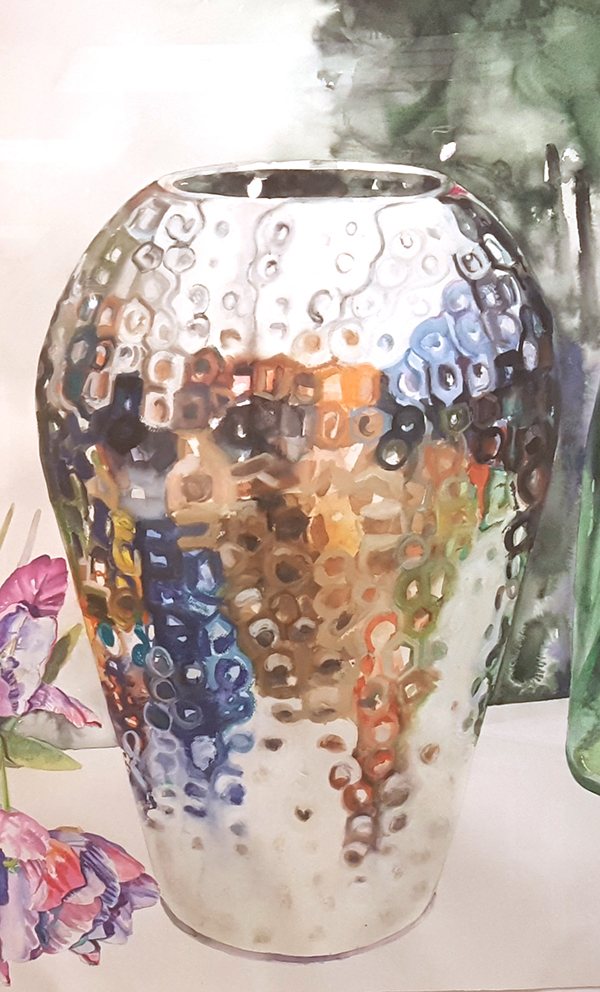 "Detail from ""Silver Vase"" by Yolanda Sharpe."