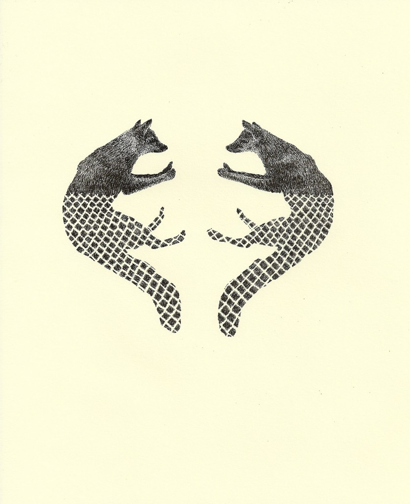 """Foxes with Chain Link"" by Wesley Berg. Image courtesy of the artist."